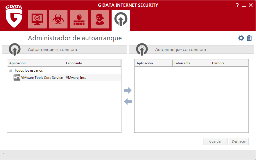 Screenshot G DATA Internet Security – Administrador de autoarranque
