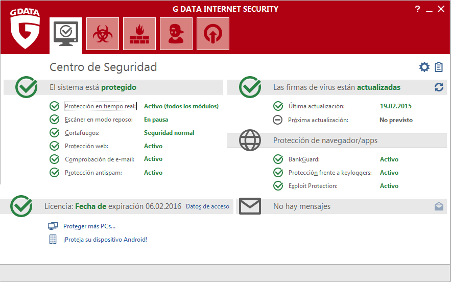 Screenshot G DATA Internet Security – Centro de seguridad