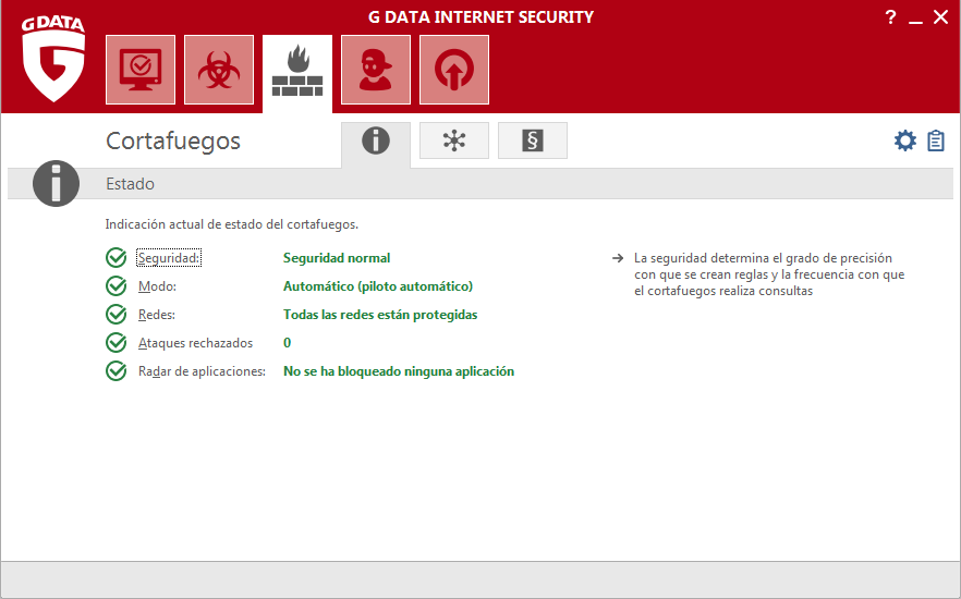 Screenshot G DATA Internet Security – Cortafuegos