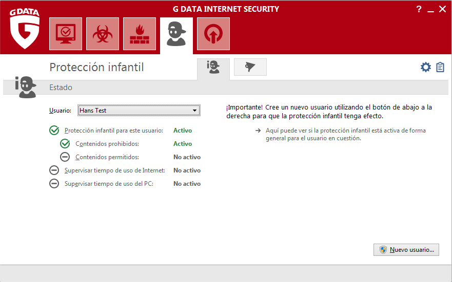 Screenshot G DATA Internet Security – Proteccion infantil